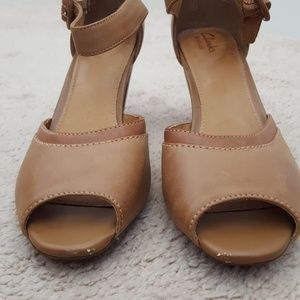e6510d43481b Clarks Shoes - Clarks Artisan leather peep tie heels size 9 M